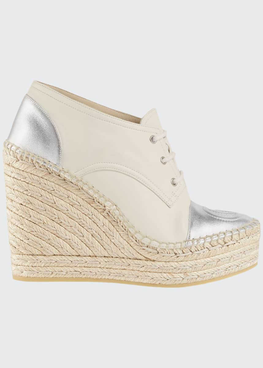 Gucci Pilar Metallic Leather Lace-Up Wedge Platform Espadrilles