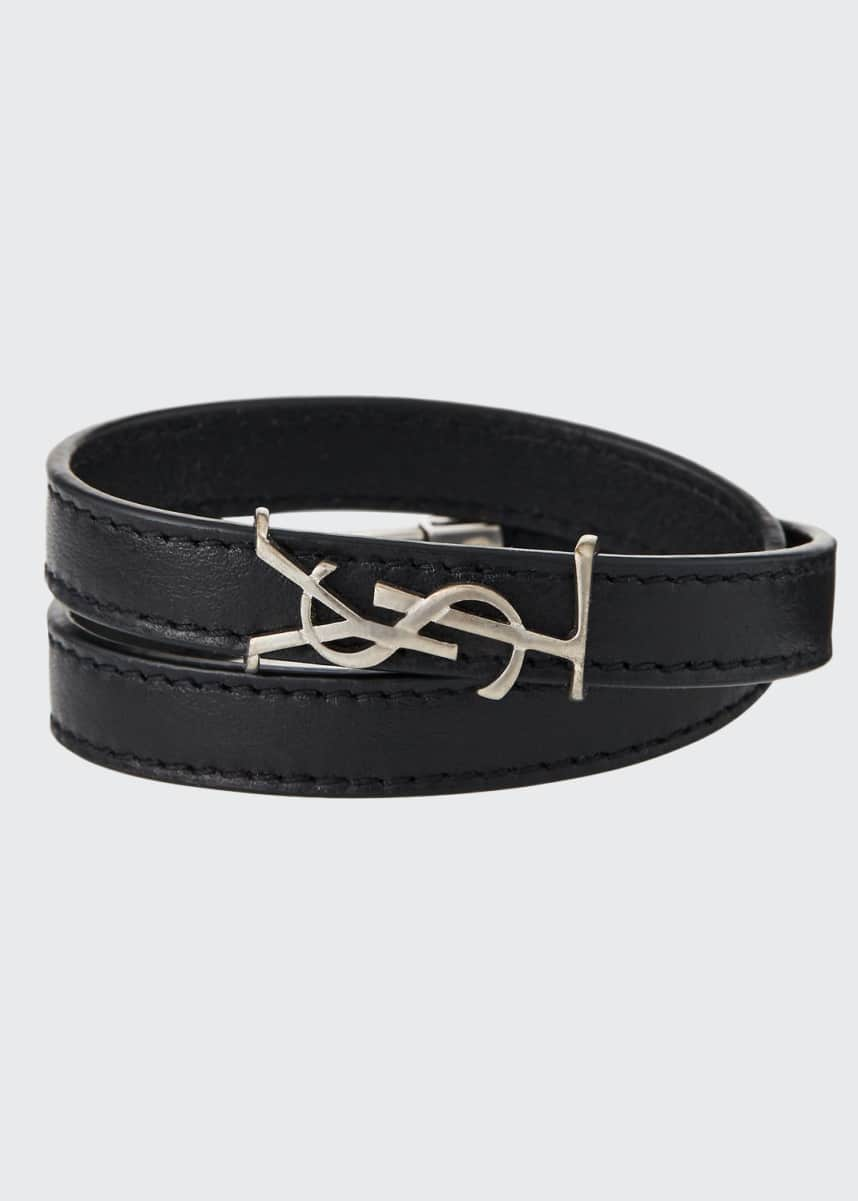 Saint Laurent Leather Double-Wrap YSL Bracelet, Size S & M