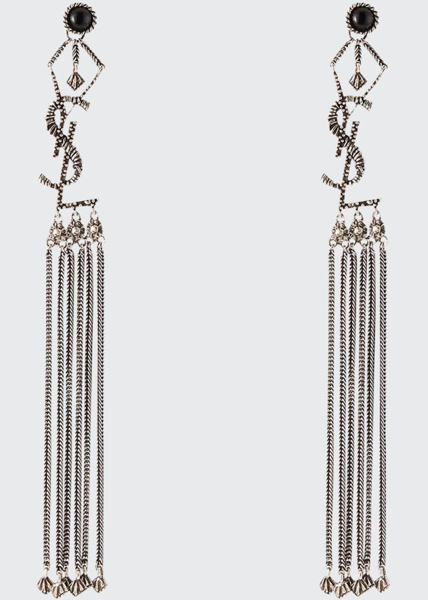 Saint Laurent Long YSL Tassel Earrings
