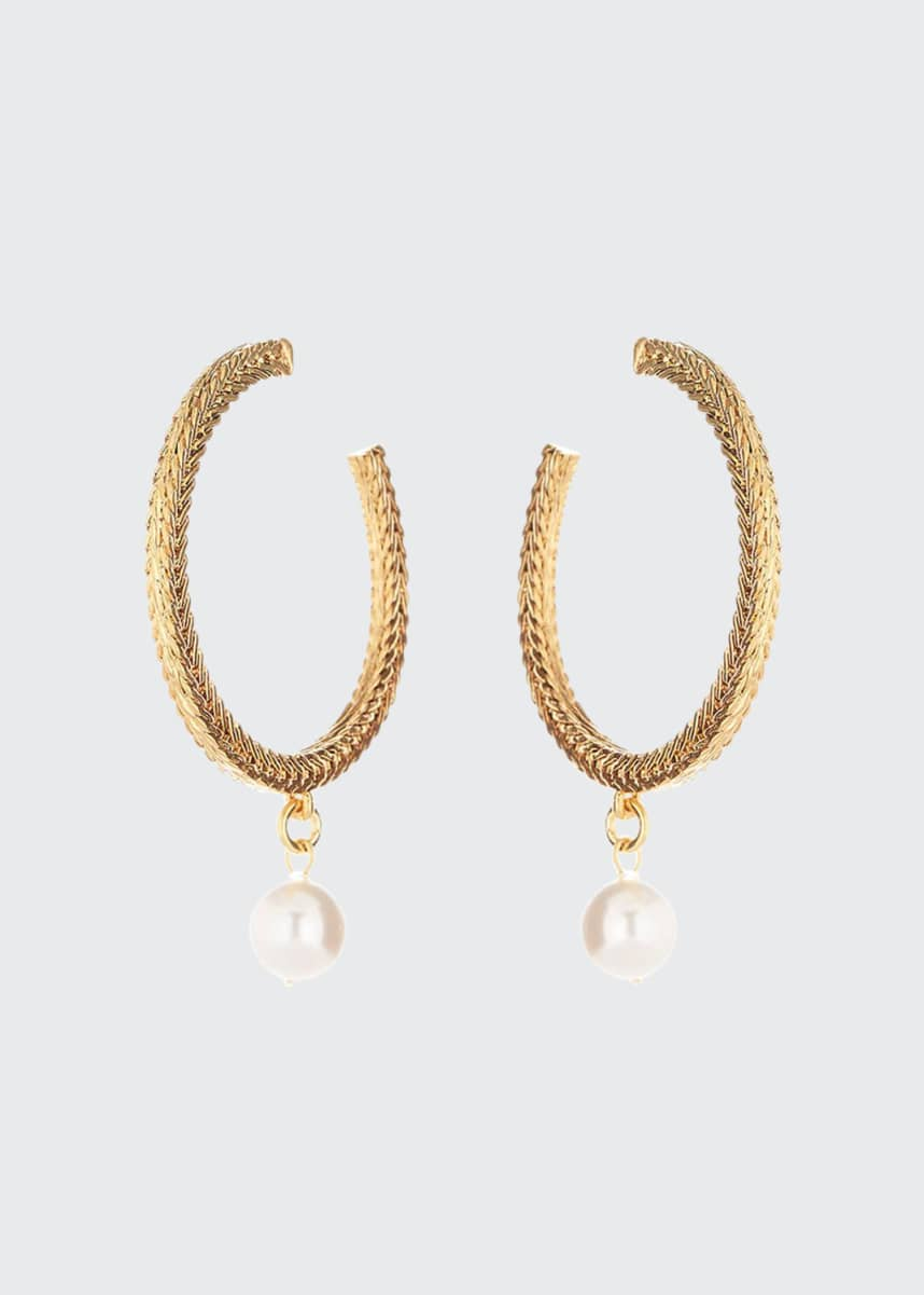 Oscar de la Renta Braided Chain Pearly Drop Hoop Earrings