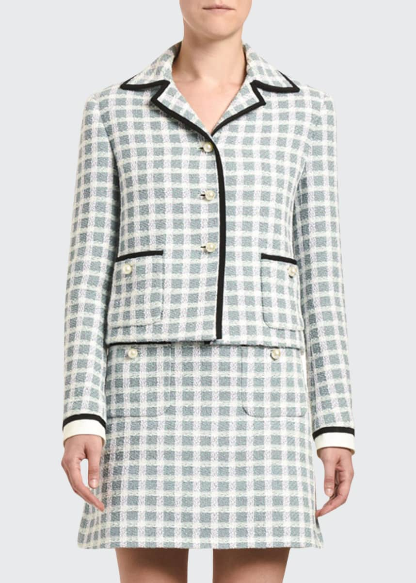 Miu Miu Plaid Tweed Pearly-Button Front Jacket