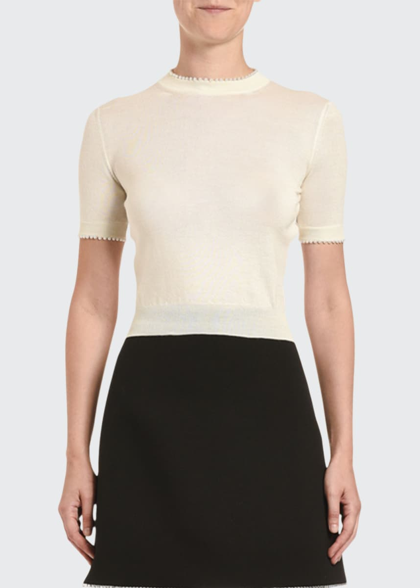 Miu Miu Cashmere Pearly Trim Short-Sleeve Sweater
