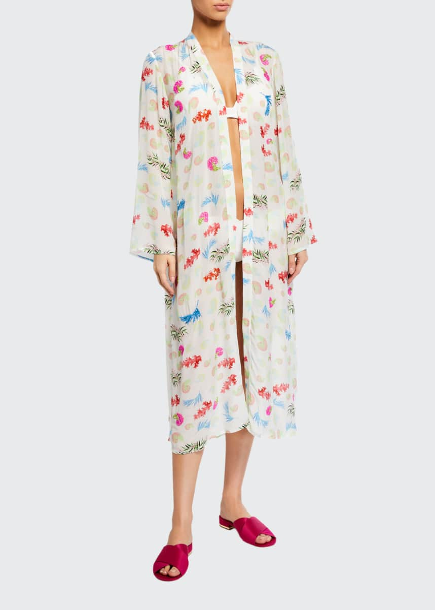 Verandah Hand Beaded Ultra-Soft Kimono Coverup Robe