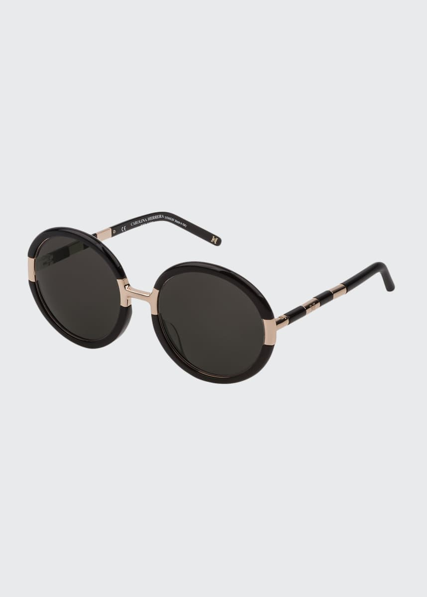 Carolina Herrera Lightweight Round Acetate and Titanium Sunglasses