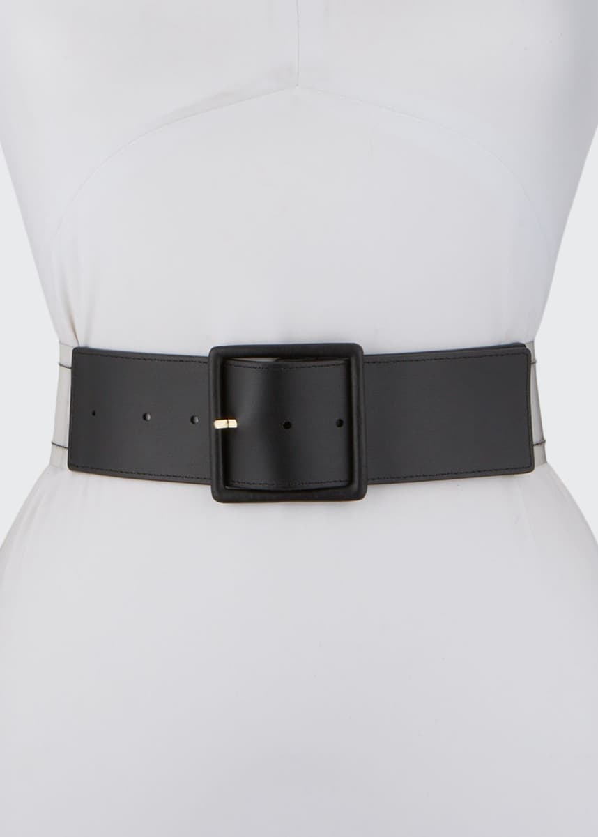 Veronica Beard Tinmarie Leather-Front Wide Belt