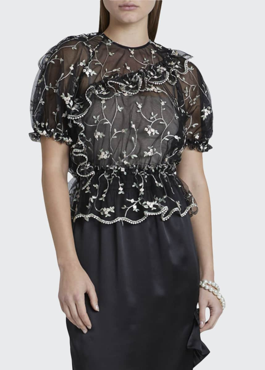 Simone Rocha Floral Lace Bubble Top
