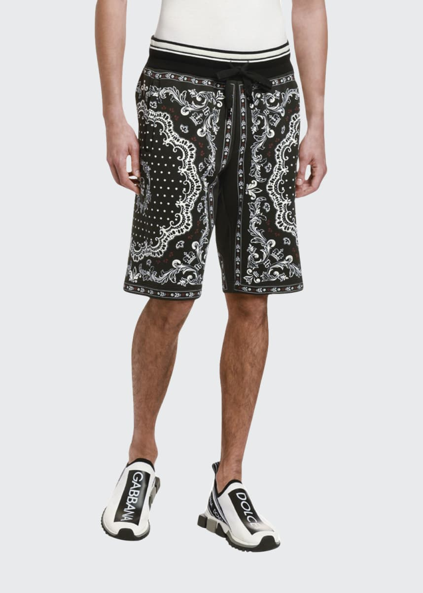 Dolce & Gabbana Men's Bandana-Print Cotton Sweat Shorts