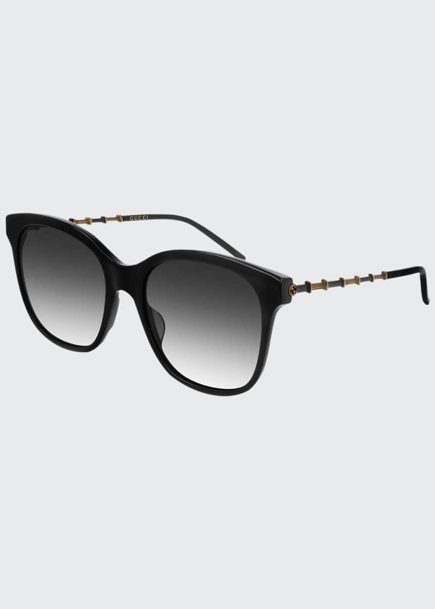 Gucci Square Acetate Bamboo Effect Arms Sunglasses