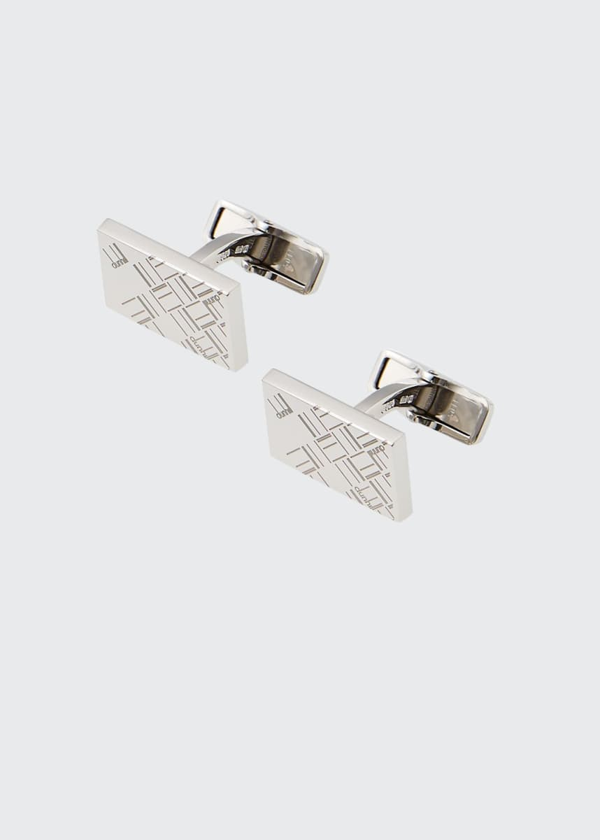 dunhill Men's Abstract Longtail Silver Rectangle Cufflinks