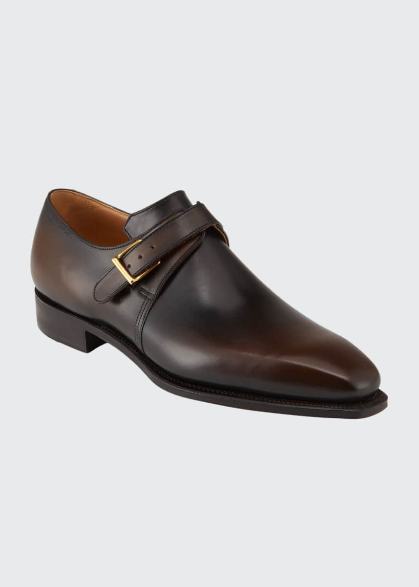 Corthay Men's Arca Leather Monk-Strap Loafers