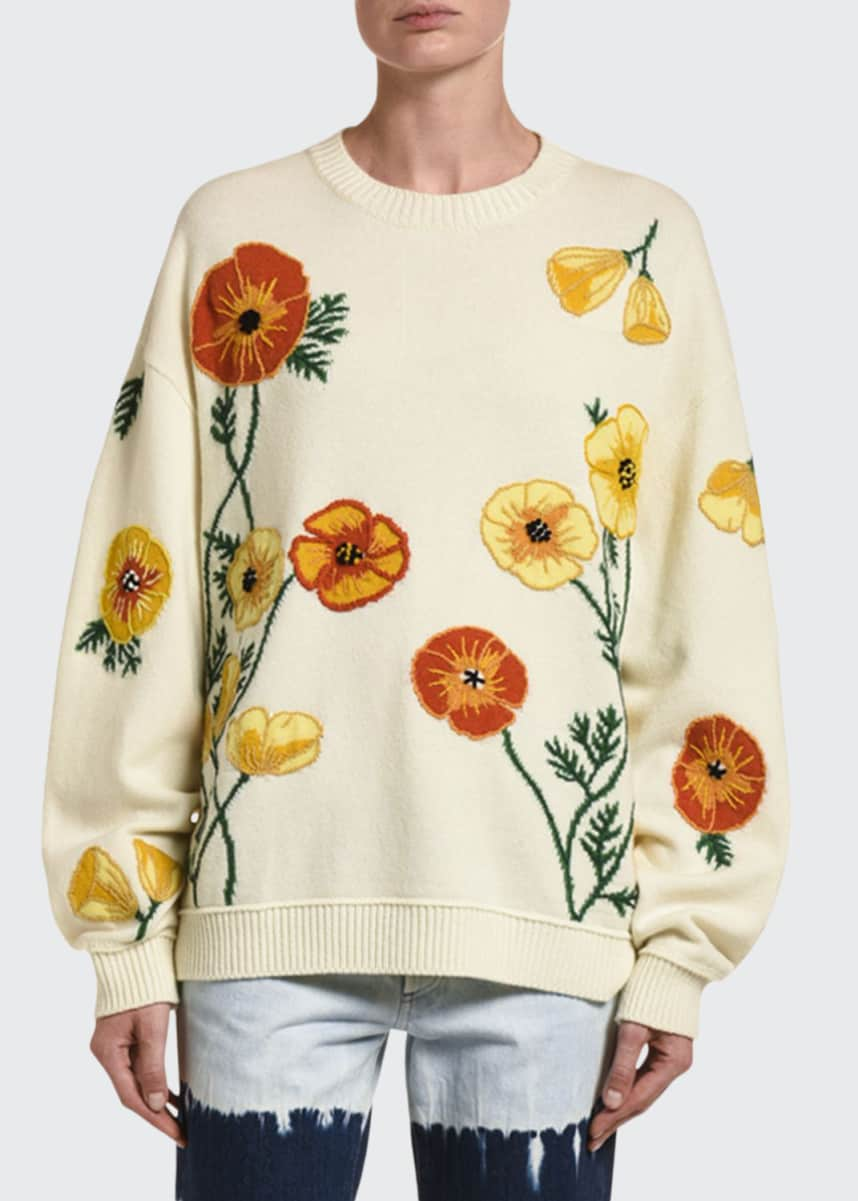 Alanui Poppy Blossom Wool-Cashmere Sweater