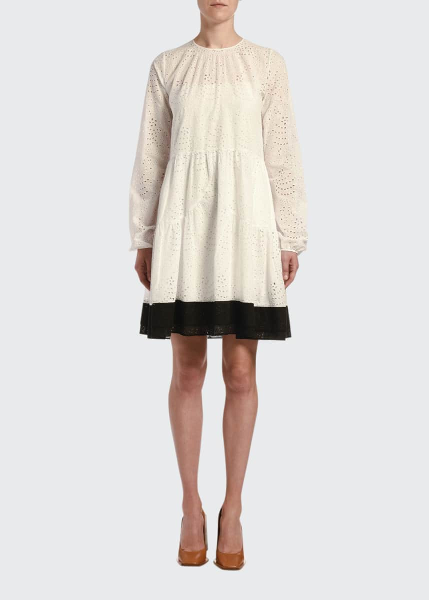 No. 21 Long-Sleeve Eyelet Dress with Contrast Hem