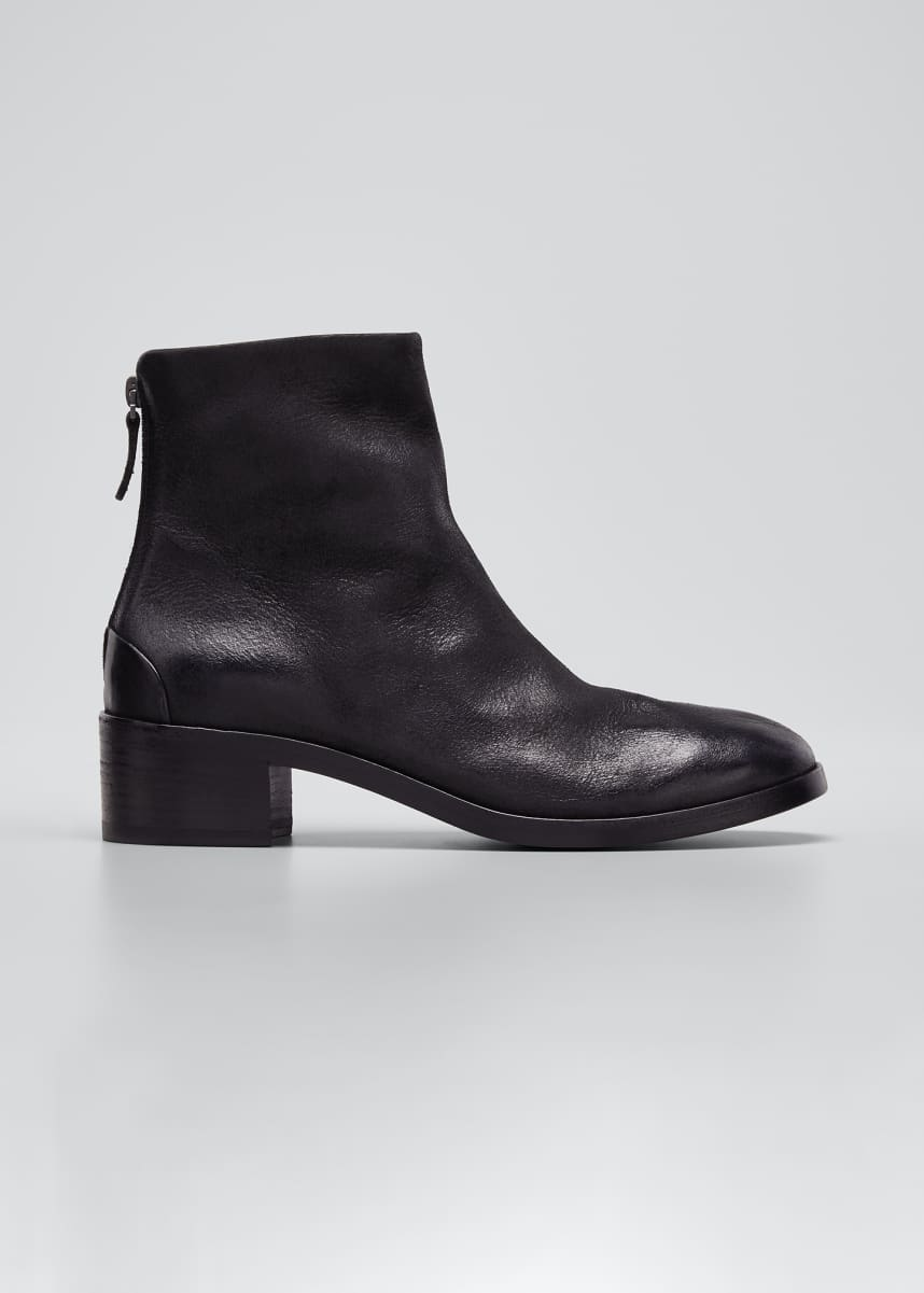 Marsell Listo Rustic Leather Zip Booties