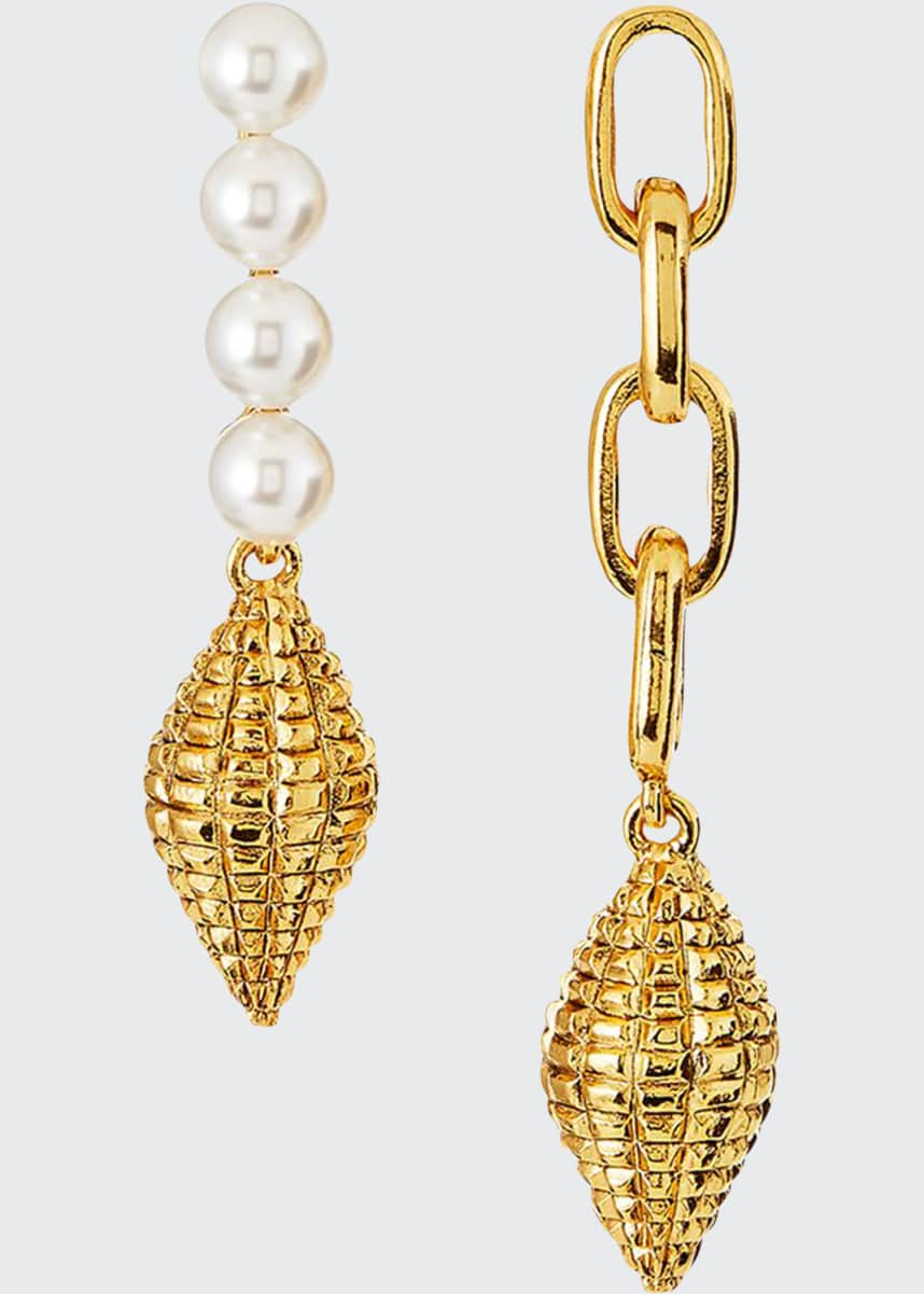 Oscar de la Renta Pearly and Chain Mismatch Earrings