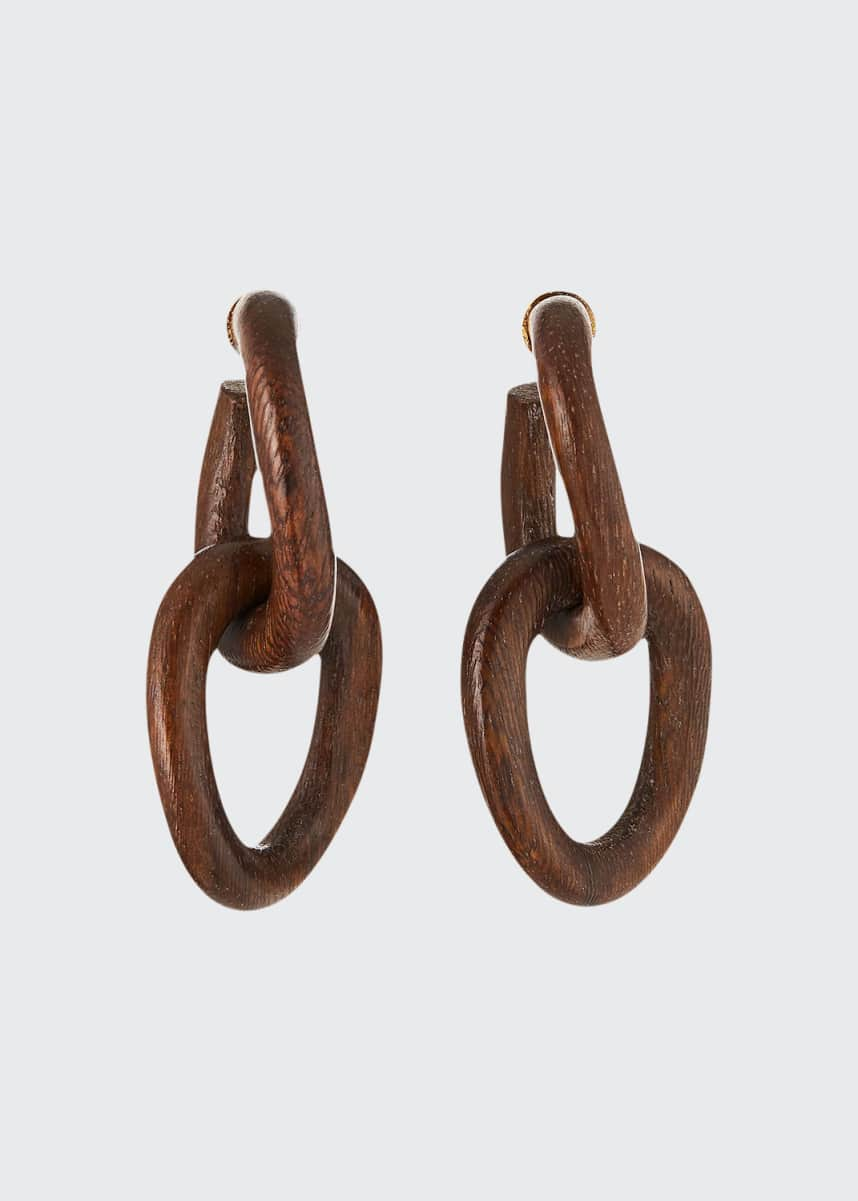 Oscar de la Renta Wood-Link Earrings