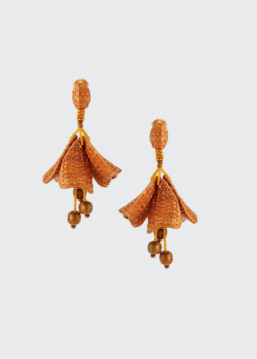 Oscar de la Renta Raffia Impatiens Clip Earrings