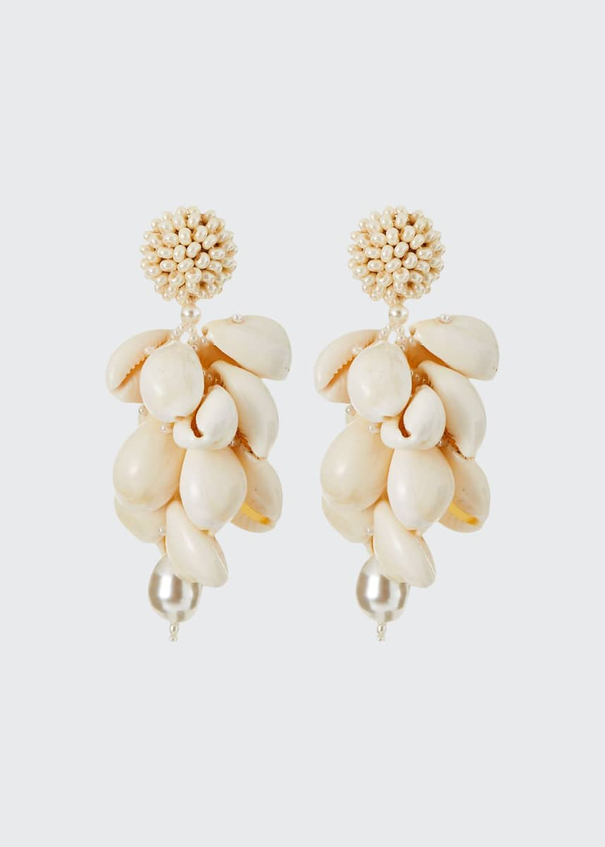 Oscar de la Renta Shell Cluster Earrings
