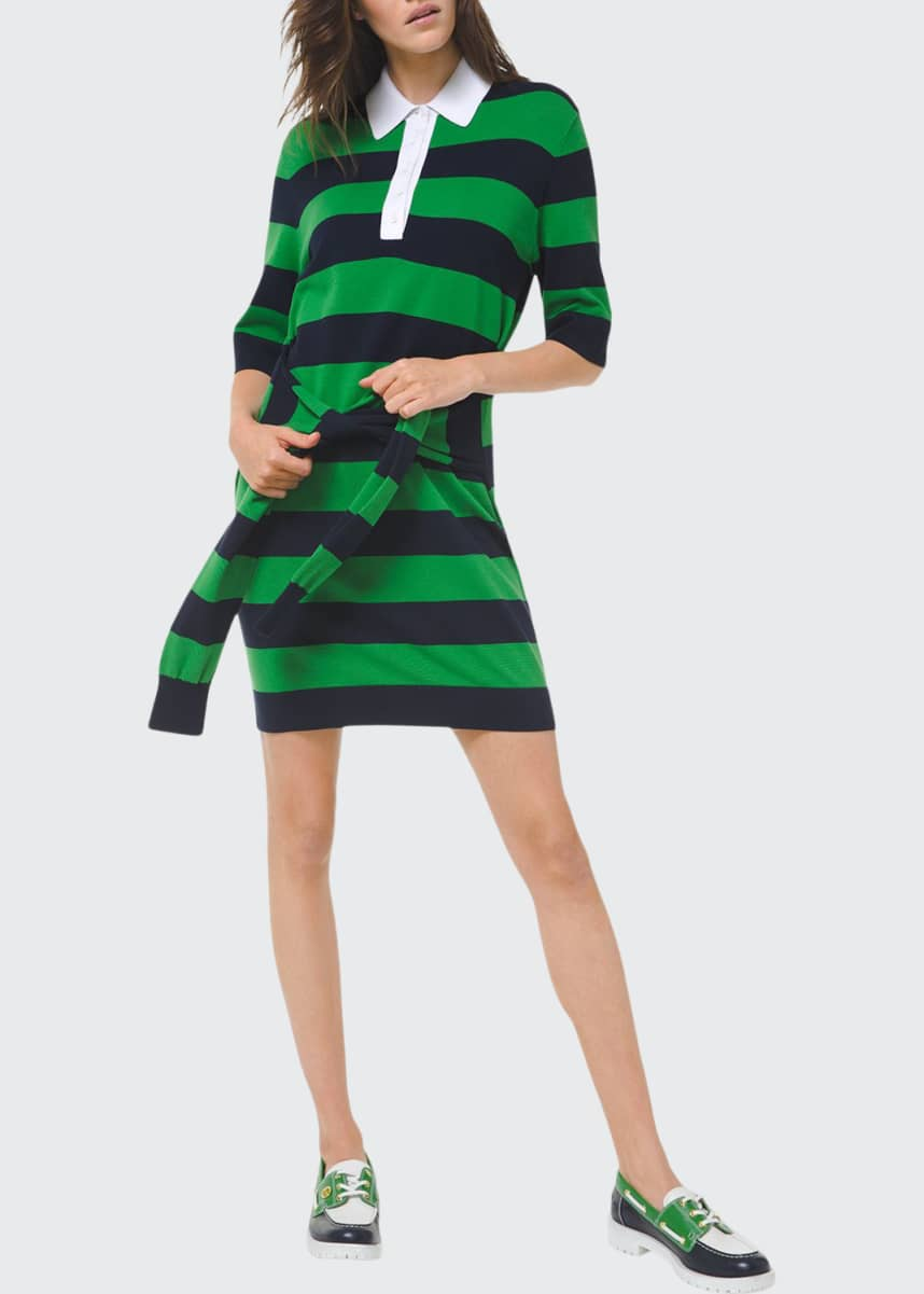 Michael Kors Collection Striped Tie-Waist Knit Polo Dress