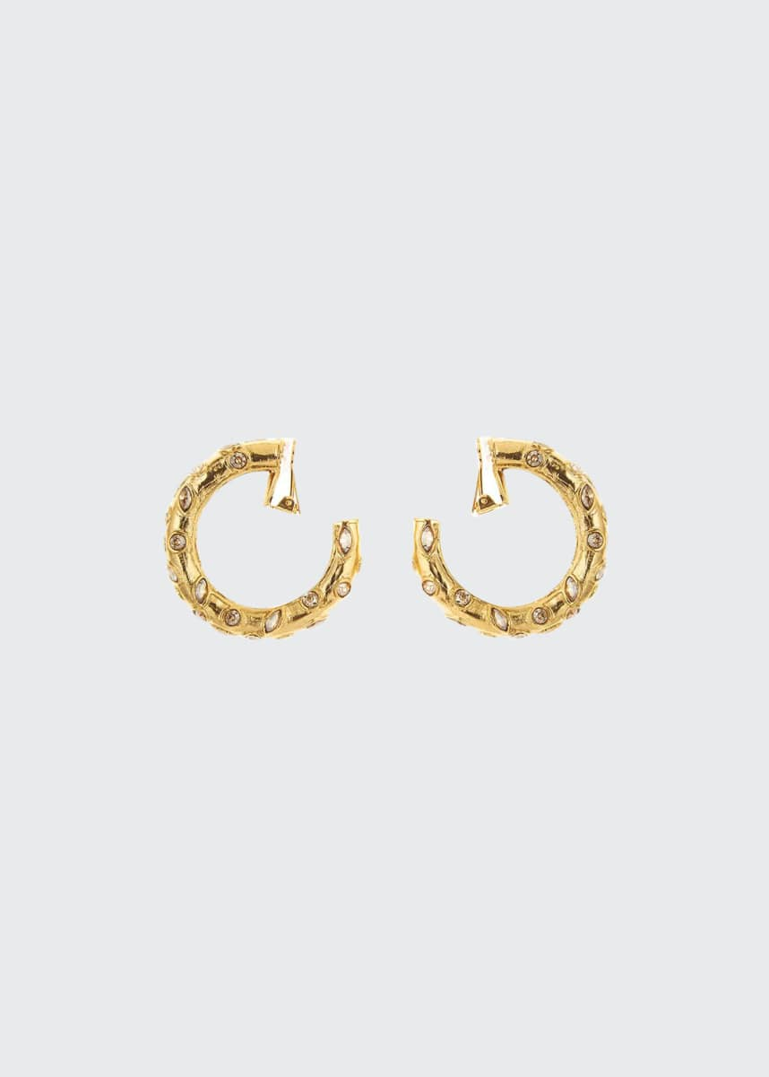 Oscar de la Renta Large Crystal Clip-On Hoop Earrings