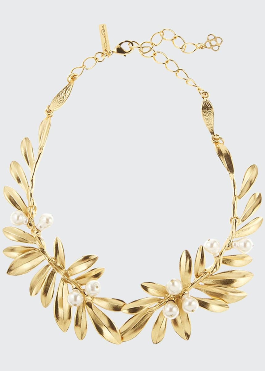Oscar de la Renta Pearly Leaf Necklace