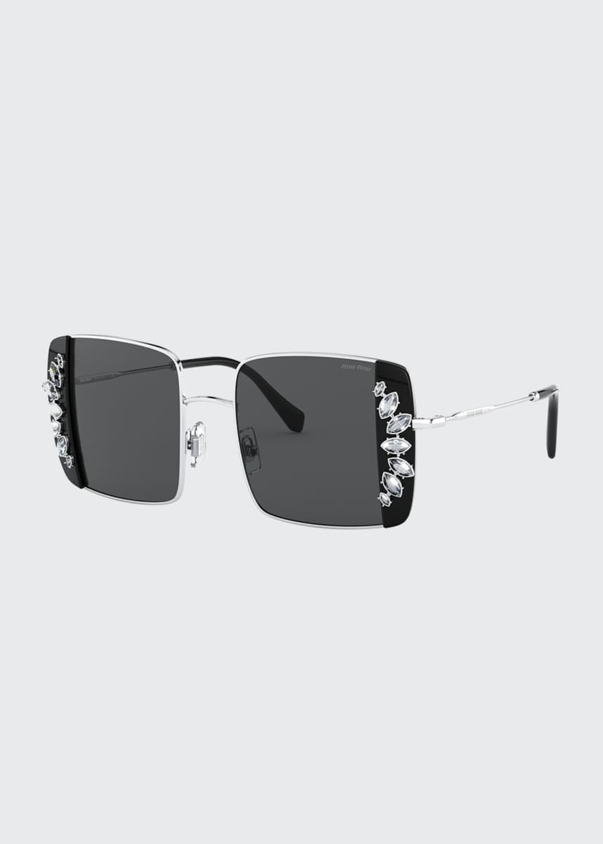 Miu Miu Crystal Trim Rectangle Sunglasses