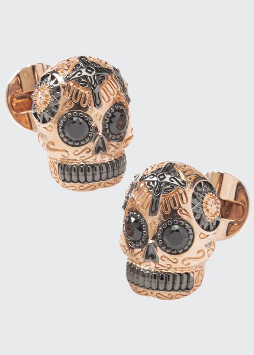 Cufflinks Inc. Men's Rose Gold & Black Day of the Dead Skull Cufflinks