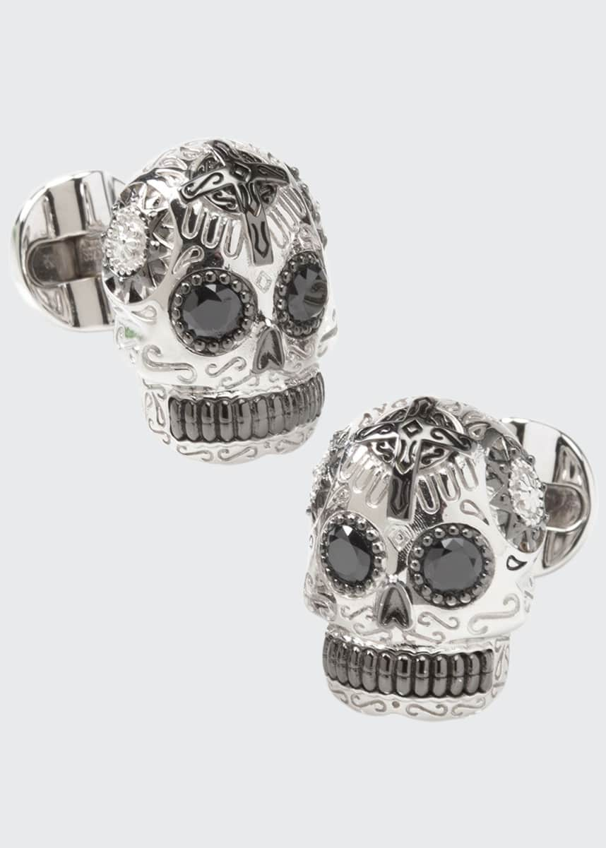 Cufflinks Inc. Men's Silver & Black Day of the Dead Skull Cufflinks