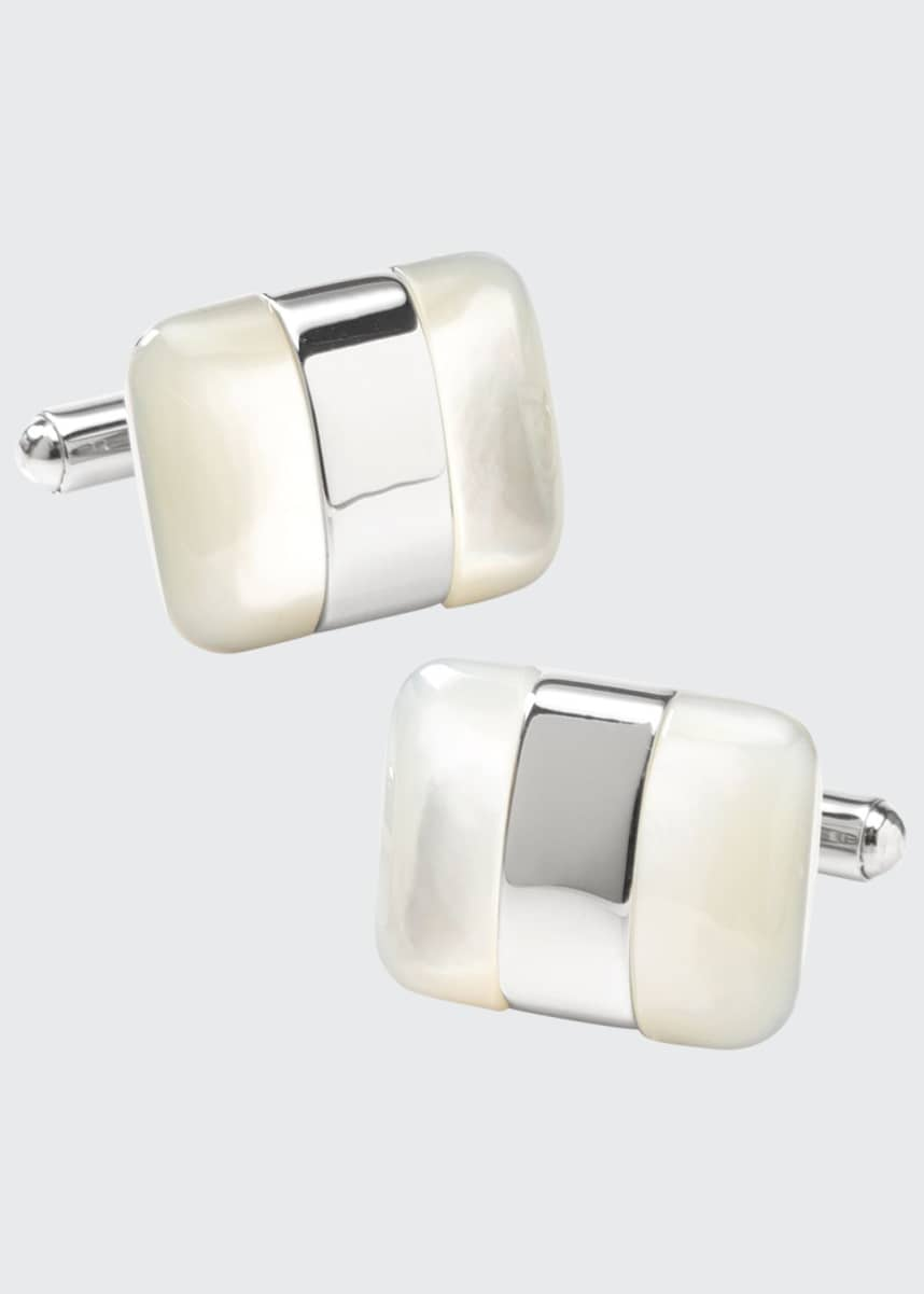 Cufflinks Inc. Men's Silver-Wrapped Mother-of-Pearl Cufflinks