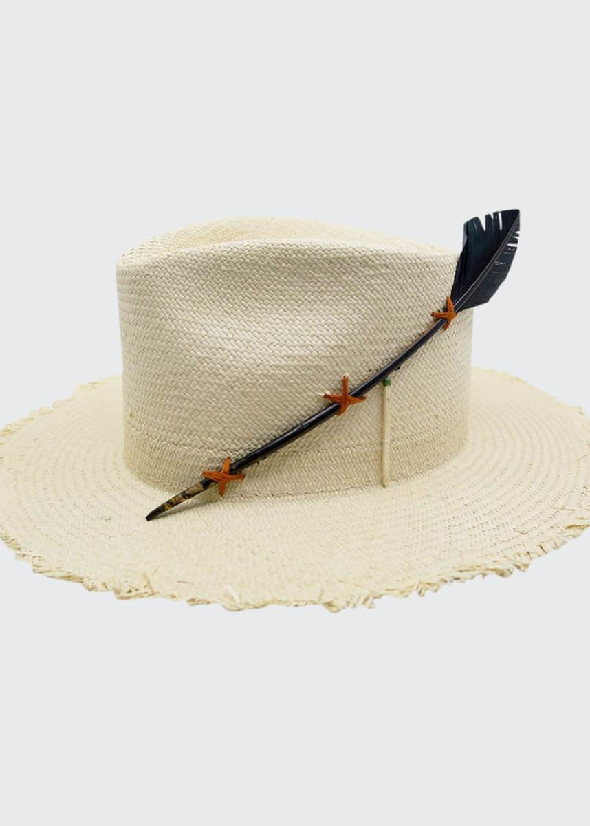 Nick Fouquet Black Bird Straw Fedora Hat