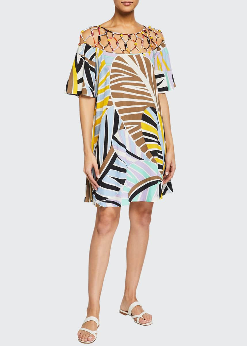 Emilio Pucci Short Leaf-Print Coverup Sundress