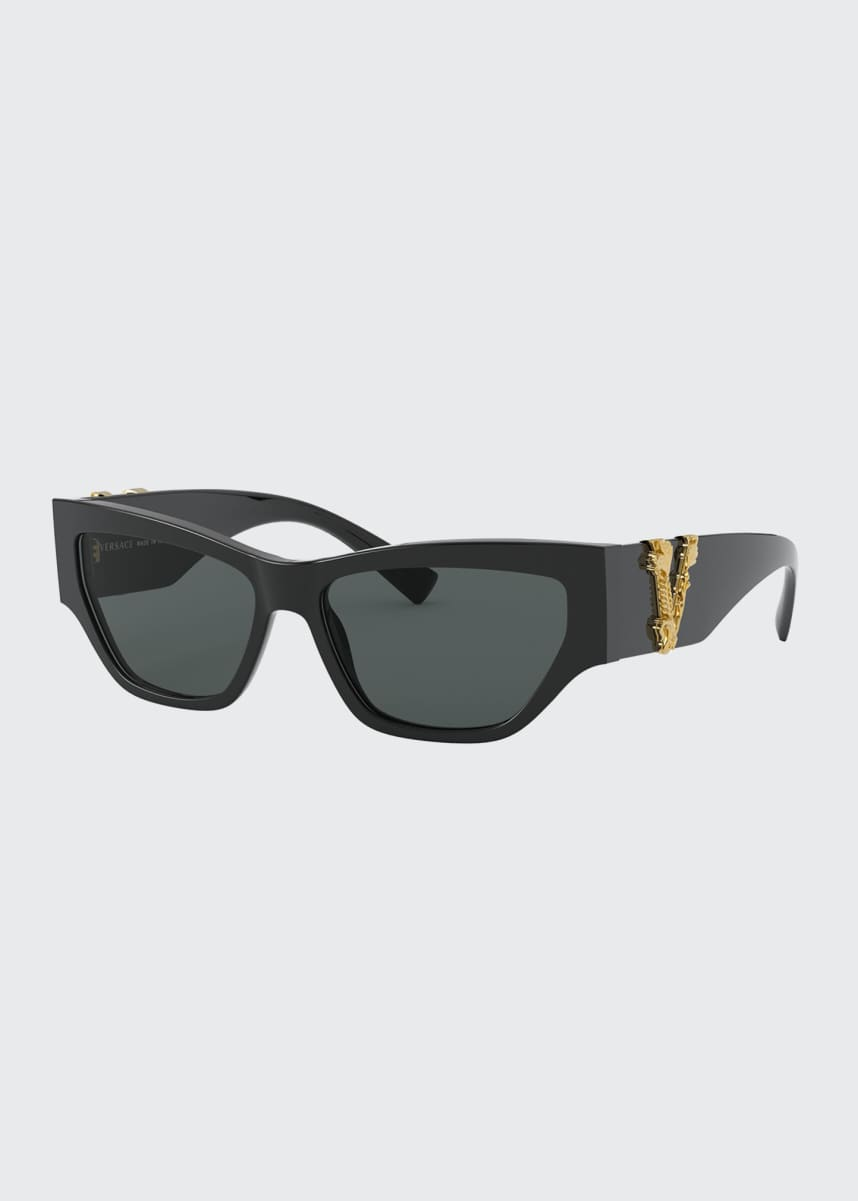 Versace Cat-Eye Acetate Sunglasses w/ V Temples