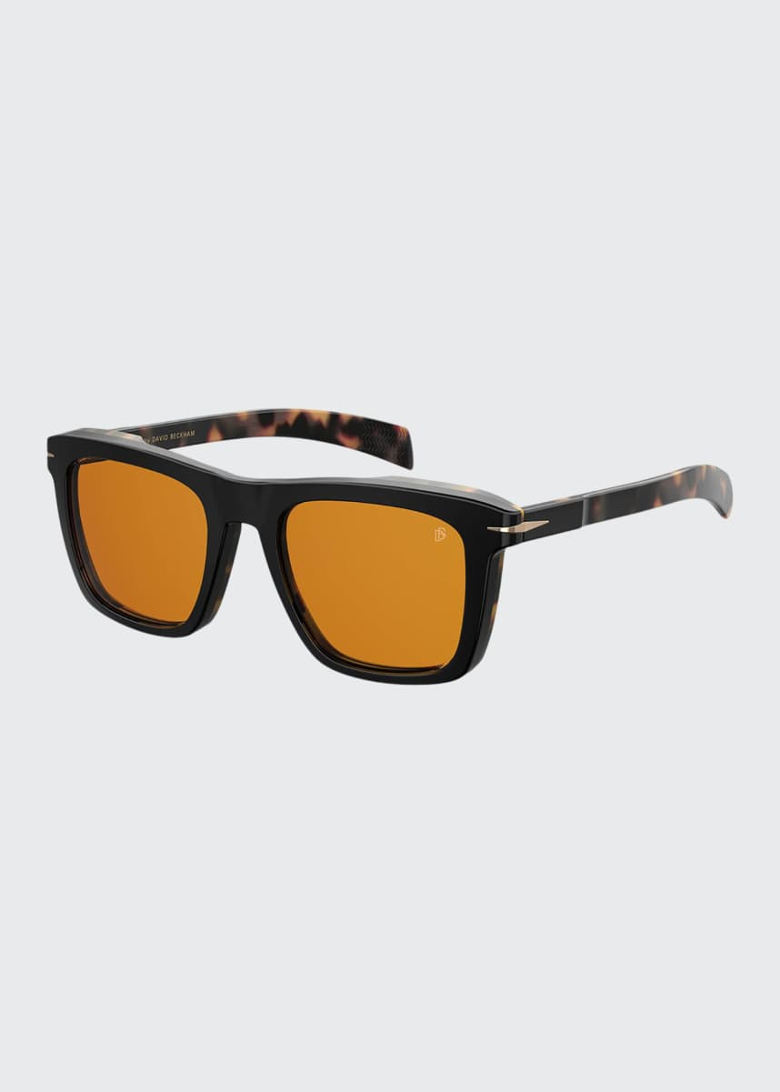 David Beckham Men's Thick Square Acetate Sunglasses