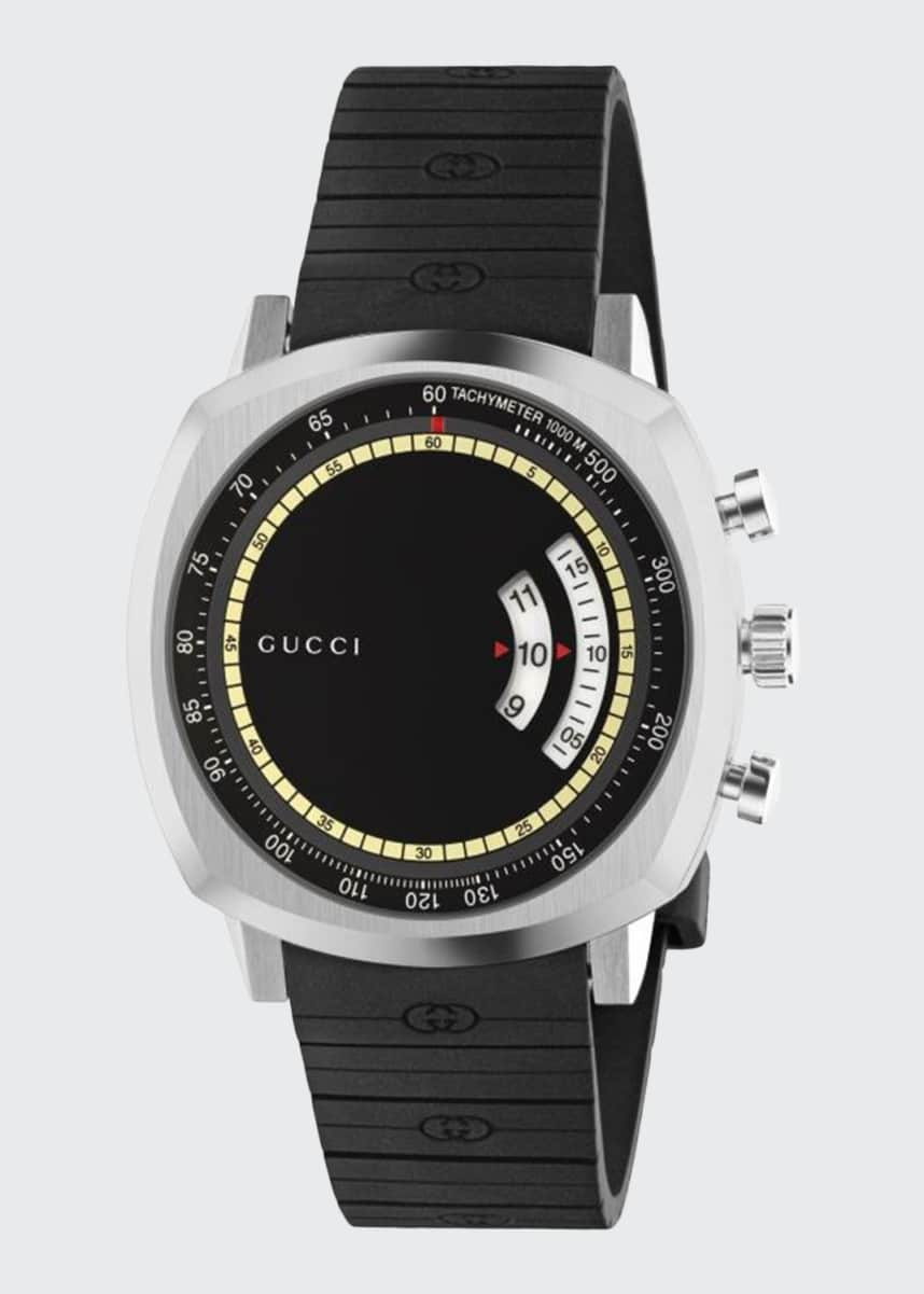 Gucci Men's Gucci Grip 40mm Square Chronograph Watch with Rubber Strap