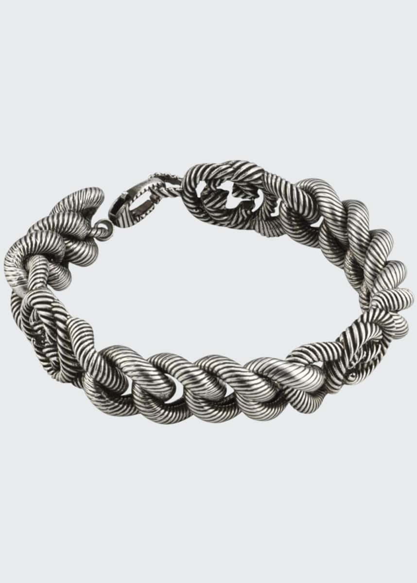 Gucci Men's Interlocking G Sterling Silver Gourmette Bracelet