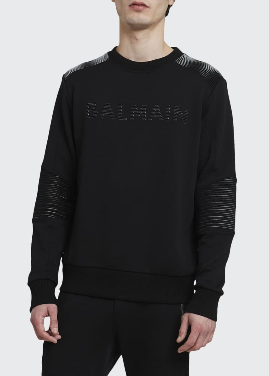 Balmain Men's Ribbed 3D Logo Sweatshirt