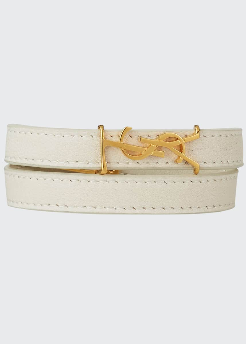 Saint Laurent Double-Wrap Lambskin YSL Bracelet, White, Size M