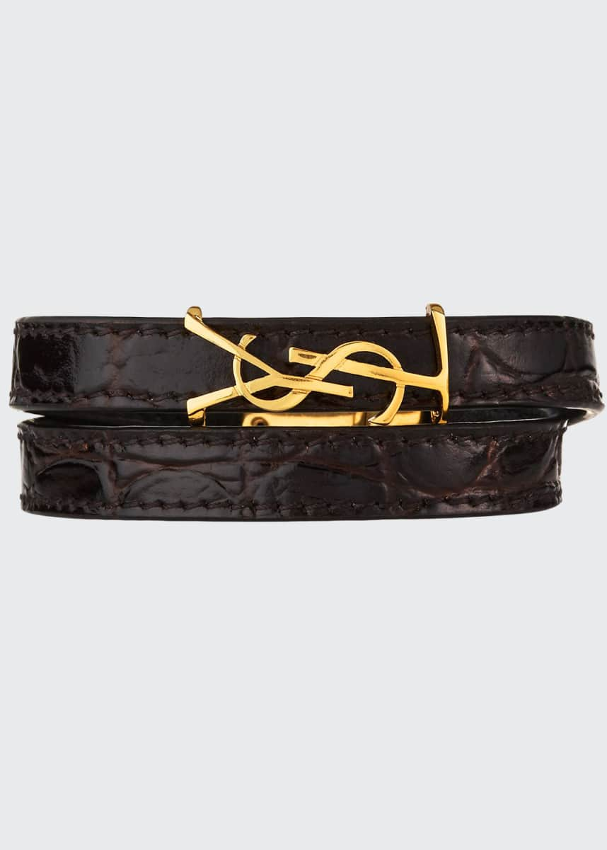 Saint Laurent Leather Double-Wrap YSL Bracelet, Size S M