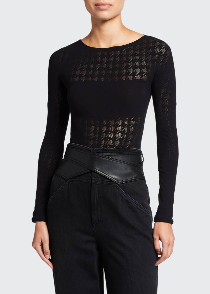 Wolford Dylan Houndstooth String Bodysuit
