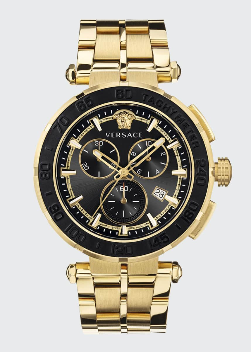 Versace Men's 45mm Greca Chrono IP Yellow Gold Bracelet Watch