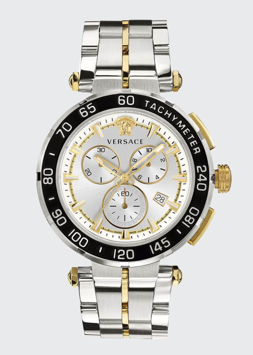 Versace Men's 45mm Greca Chrono Two-Tone Bracelet Watch