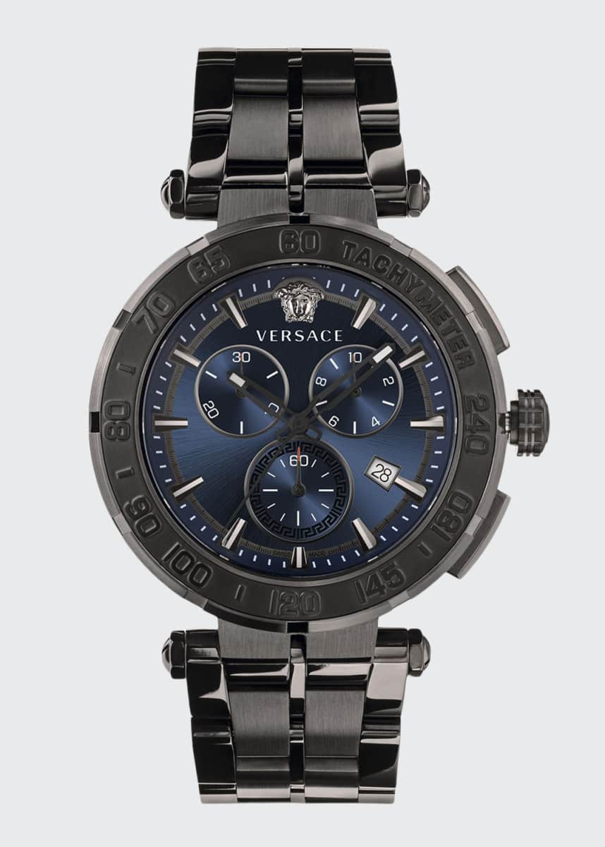 Versace Men's 45mm IP Black Greca Chrono Bracelet Watch