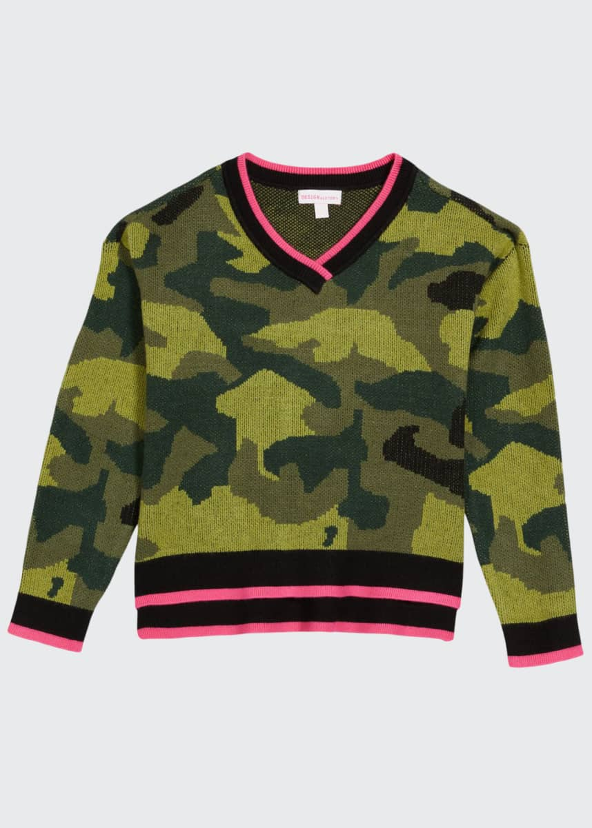Design History Girls Girl's Camo Long-Sleeve Knit Sweater, Size S-XL