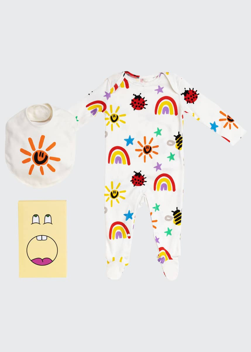 Stella McCartney Kids Girl's Crayon Weather Footie Pajamas & Bib Gift Set, Size 1-9M