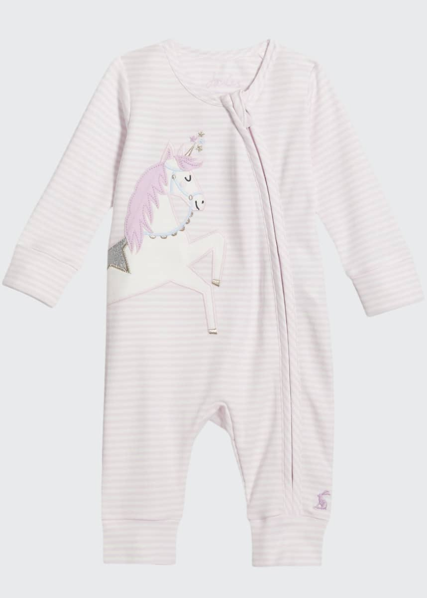 Joules Girl's Winfield Striped Unicorn Coverall, Size 0-9M