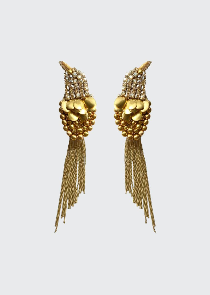 Mignonne Gavigan Crystal Bird Earrings, Gold