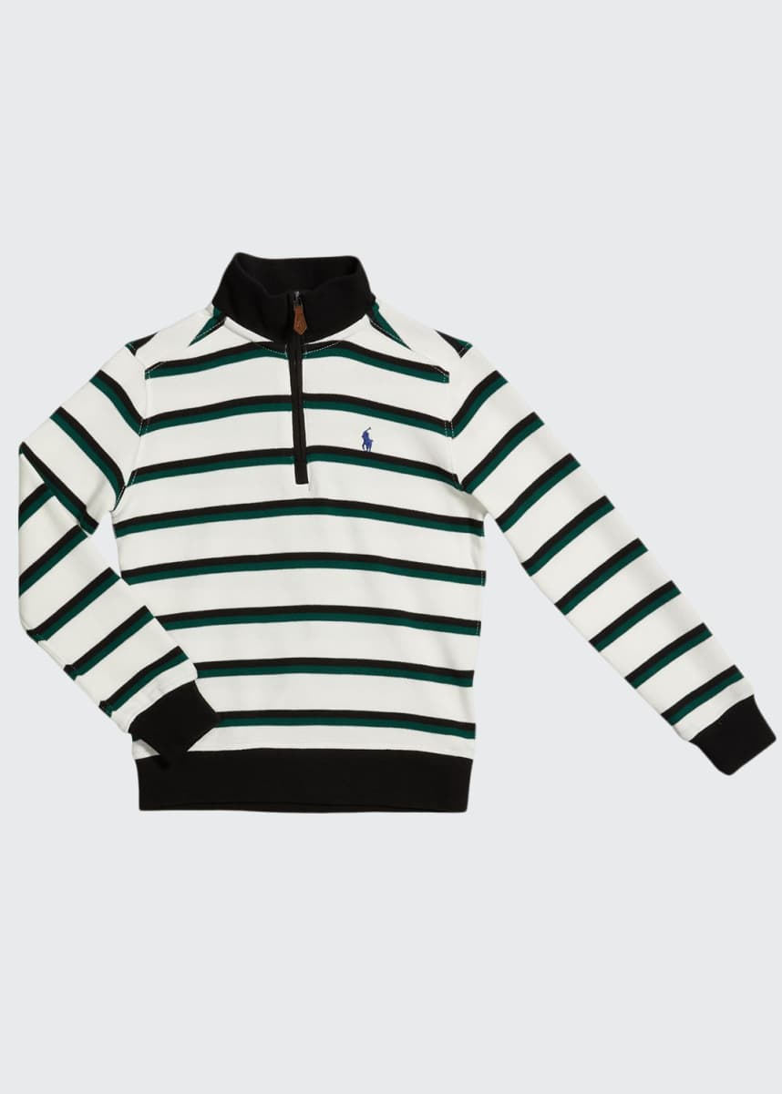 Ralph Lauren Childrenswear Boy's Striped Rib-Knit Half-Zip Sweater, Size 5-7
