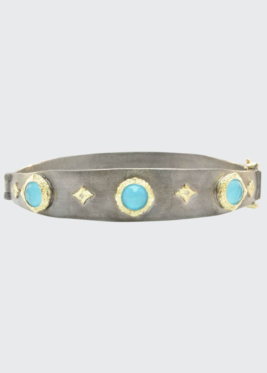 Armenta Old World Turquoise Doublet and Diamond Huggie Bracelet