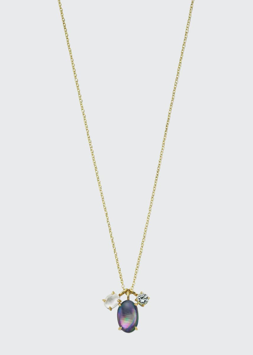 Ippolita 18K Rock Candy Luce 3-Stone Pendant Necklace in Blu Notte