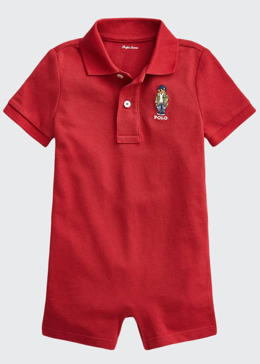 Ralph Lauren Childrenswear Boy's Polo Bear Embroidered Polo Playsuit, Size 6-24M