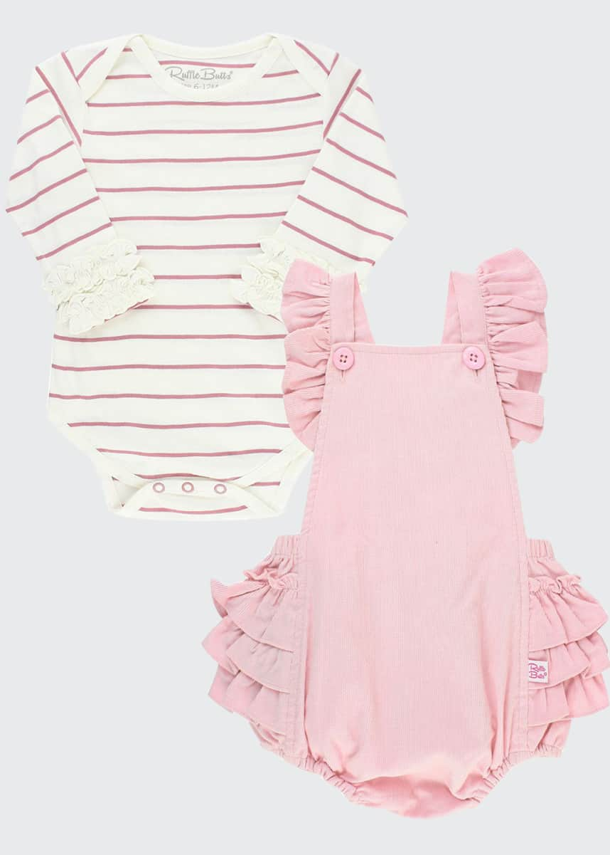 RuffleButts Girl's Ballet Pink Ruffle Overalls w/ Striped Bodysuit, Size 0-24M